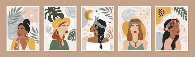 Abstrakcyjny plakat kobiecy współczesny portret kobiety z liśćmi, kwiatami, geometrycznymi, organicznymi kształtami