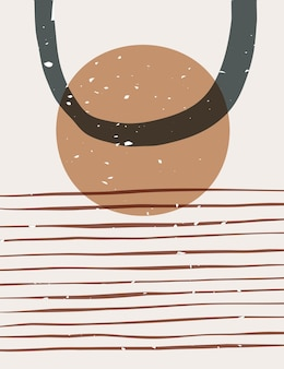 Abstrakcyjny plakat z geometrycznymi i organicznymi kształtami. współczesne ręcznie rysowane