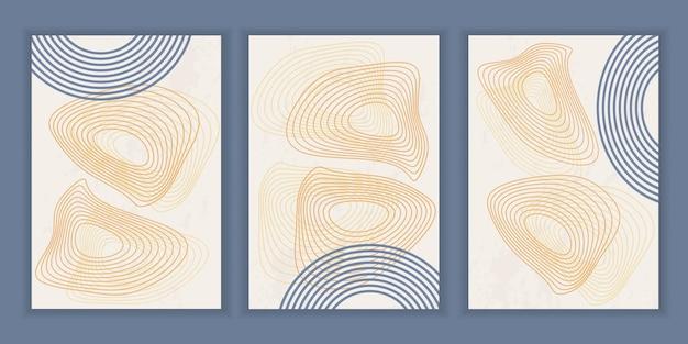 Abstrakcyjny plakat z geometrycznymi kształtami i liniami