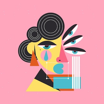 Abstrakcyjny portret kobiety wykonany z różnych kształtów