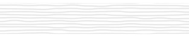 Abstrakcyjny poziomy baner falistych linii z cieniami w kolorach białym i szarym