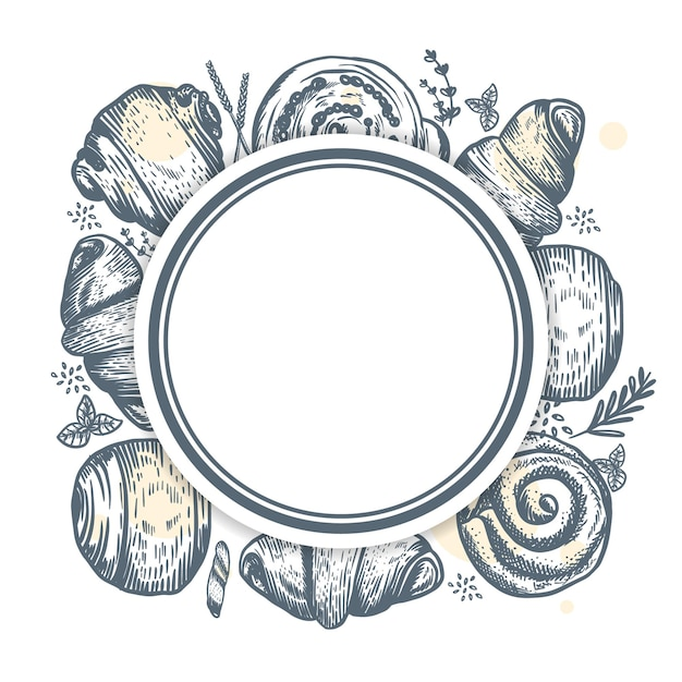 Abstrakcyjny projekt dla piekarni lub piekarni z ręcznie rysowane