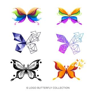 Abstrakcyjny projekt logo kolekcji motyli