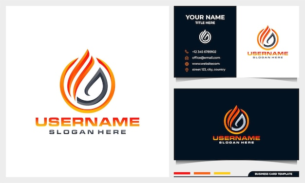 Abstrakcyjny projekt logo płomienia ognia z szablonem wizytówki