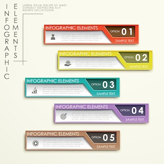 Abstrakcyjny projekt szablonu infografiki z kolorowymi banerami