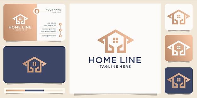 Abstrakcyjny styl domu linii sztuki minimalistyczny design. złoty luksusowy dom z kombinacją koncepcji strzałki, ikona firmy biznesowej, ikona i szablon wektora wizytówki. wektor premium