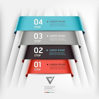 Abstrakcyjny styl wstążki infografiki szablon może być używany do układu przepływu pracy, schemat, opcje liczby, opcje zwiększenia, projektowanie stron internetowych