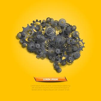 Abstrakcyjny system funkcji mózgu ilustrowany realistycznymi abstrakcyjnymi biegami i trybikami