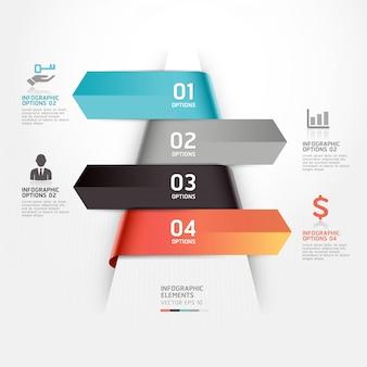 Abstrakcyjny szablon infografiki biznesowych można wykorzystać do układu przepływu pracy, schematu, opcji liczbowych, opcji zwiększania, projektowania stron internetowych, infografiki.