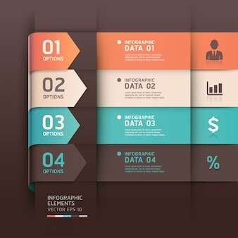 Abstrakcyjny szablon infografiki strzałek może służyć do układu przepływu pracy, schematu, opcji liczbowych, opcji zwiększania, projektowania stron internetowych