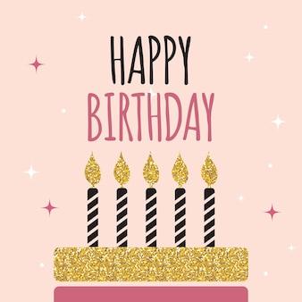 Abstrakcyjny szablon karty z okazji urodzin z ilustracją wektorową ciasta