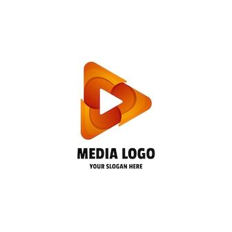 Abstrakcyjny szablon logo gradient media play