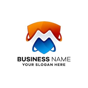 Abstrakcyjny szablon logo gradientu bezpieczeństwa biznesowego