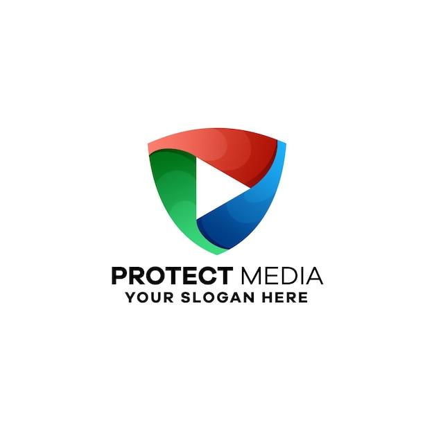 Abstrakcyjny szablon logo gradientu mediów