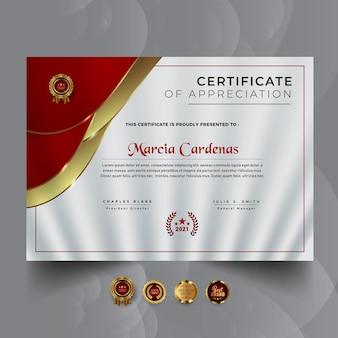 Abstrakcyjny szablon nagrody czerwonego certyfikatu