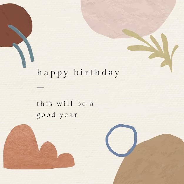 Abstrakcyjny szablon powitania urodzinowego z botanicznym wzorem memphis