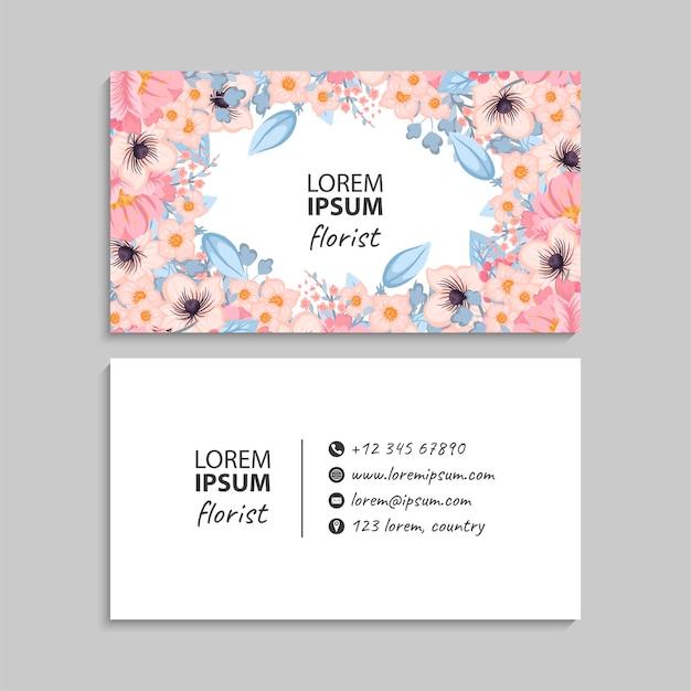 Abstrakcyjny szablon wizytówki z kwiatami