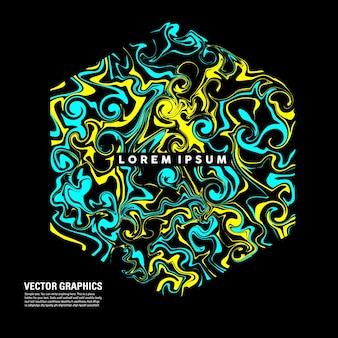 Abstrakcyjny sześciokątny kształt płynnej sztuki z mieszaną jasnoniebieską i żółtą farbą