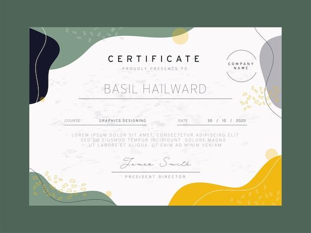 Abstrakcyjny układ szablonu certyfikatu dla firmy projektowej