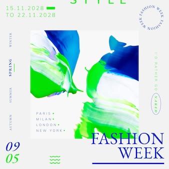 Abstrakcyjny wektor szablonu, reklama tygodnia mody dla postu w mediach społecznościowych