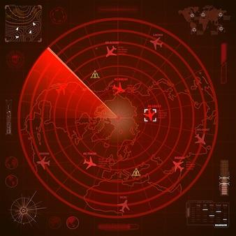 Abstrakcyjny wyświetlacz wojskowego czerwonego radaru ze śladami samolotów i znakami celu