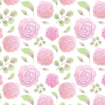 Abstrakcyjny wzór akwarela różowe kwiaty