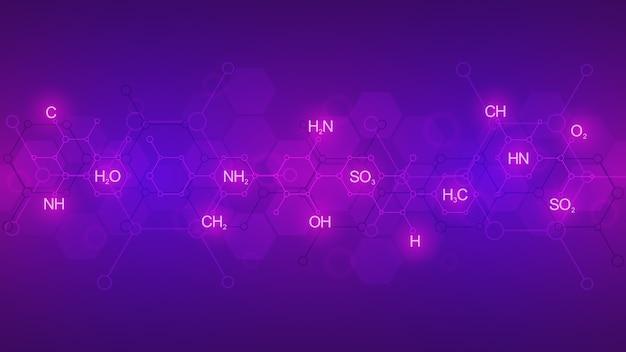 Abstrakcyjny wzór chemii na fioletowym tle z wzorami chemicznymi i strukturami molekularnymi. szablon z koncepcją i pomysłem na technologię nauki i innowacji.