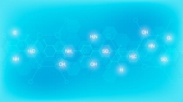 Abstrakcyjny wzór chemii na miękkim niebieskim tle z wzorami chemicznymi i strukturami cząsteczkowymi. projekt szablonu z koncepcją i pomysłem na technologię nauki i innowacji.