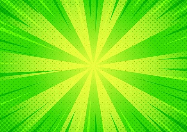 Abstrakcyjny wzór komiksu w stylu kreskówki półtonów zielony zoom.