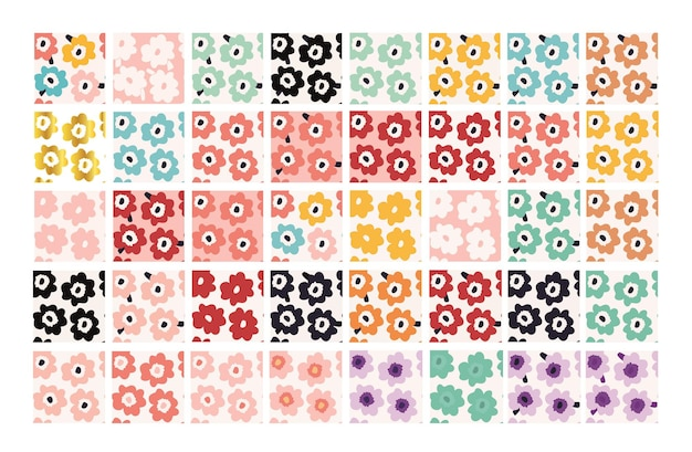 Abstrakcyjny wzór kwiatowy duży zestaw 40 wzorów ręcznie malowanych kwiatów w stylu skandynawskim