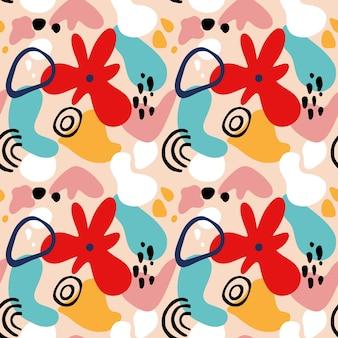 Abstrakcyjny wzór kwiatowy z geometrycznymi kształtami, plamami i motywami zwrotnikowymi. powtórz graficzny nadruk z nowoczesnymi kształtami i kwiatowymi elementami. ilustracja wektorowa kolaż stylu. modny wzór kwiatowy.