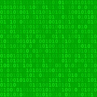 Abstrakcyjny wzór małych cyfr jeden i zero w zielonych kolorach