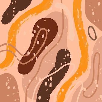 Abstrakcyjny wzór mody z organicznymi kształtami, plamami, liniami, kropkami, w delikatnych pastelowych odcieniach brązu.