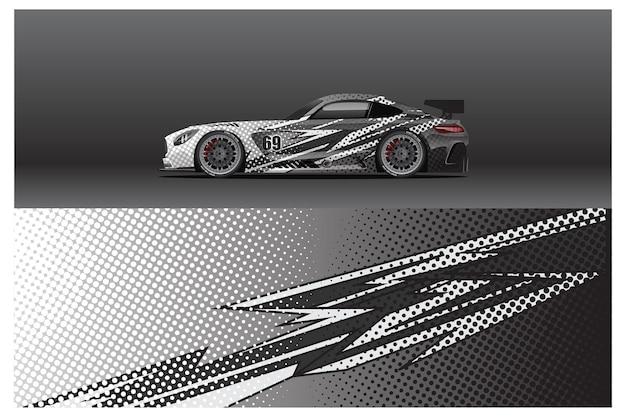 Abstrakcyjny wzór naklejki na samochód wyścigowy i tło sportowe do codziennego użytku w barwach wyścigowych lub naklejkach