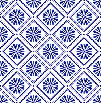 Abstrakcyjny wzór nowoczesnej płytki niebieski i biały, porcelanowe bezszwowe kwiatowe tapety ceramiczne, wzór indygo do nadruku tekstury i jedwabiu, ceramiczny wystrój w stylu vintage