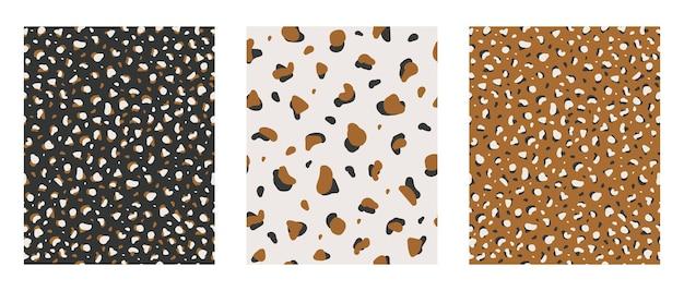 Abstrakcyjny wzór o nieregularnych kształtach geometrycznych na jasnym tle czerni i musztardy