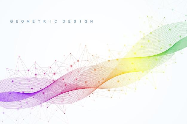 Abstrakcyjny wzór sieci molekularnej z dynamicznymi liniami i punktami. dźwięk, fala przepływu, poczucie nauki i technologii projektowania graficznego. geometryczna ilustracja wektorowa.