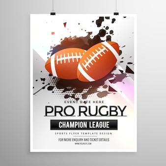 Abstrakcyjny wzór ulotki sport rugby z mocą grunge