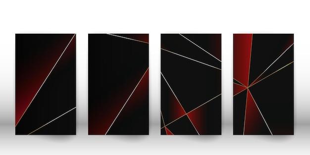Abstrakcyjny wzór wielokąta. luksusowa ciemna okładka o geometrycznych kształtach. szablon okładki wielokąta. ilustracja wektorowa.