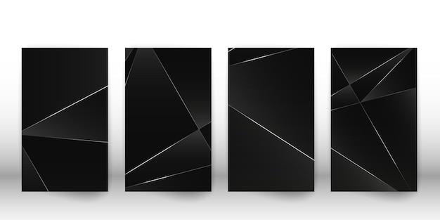 Abstrakcyjny wzór wielokąta. luksusowa ciemna okładka z geometrycznymi srebrnymi kształtami. szablon okładki wielokąta. ilustracja wektorowa.