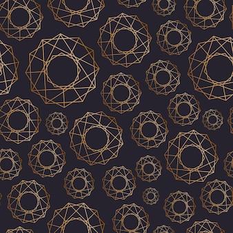 Abstrakcyjny wzór z geometrycznych kształtów różnej wielkości narysowany złotymi konturami na czarnym tle. geometryczne tło. ilustracja wektorowa na papier pakowy, druk tekstylny.