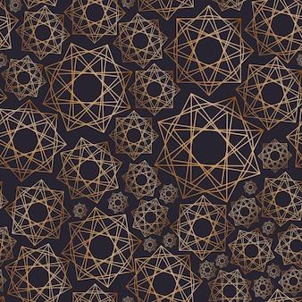 Abstrakcyjny wzór z geometrycznymi kształtami narysowanymi złotymi konturami na czarnym tle. geometryczne ozdobne tło. ilustracja wektorowa do pakowania papieru, nadruku na tkaninie, tapety