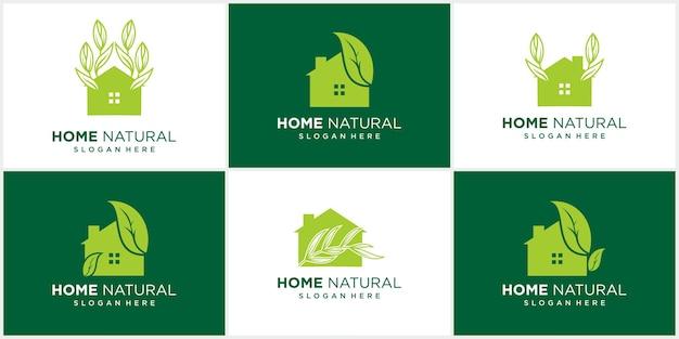 Abstrakcyjny zestaw do projektowania logo domu natura liście w negatywnej przestrzeni logo
