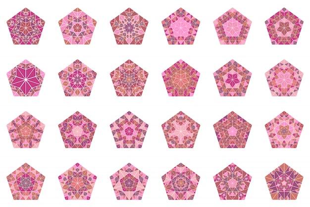Abstrakcyjny zestaw mozaiki pięciokąt na białym tle kafelki zestaw symboli
