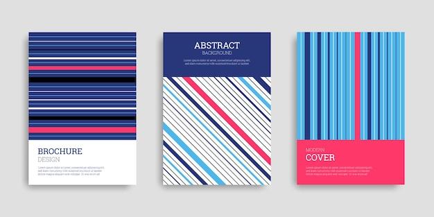 Abstrakcyjny zestaw okładek biznesowych z paskami i liniami
