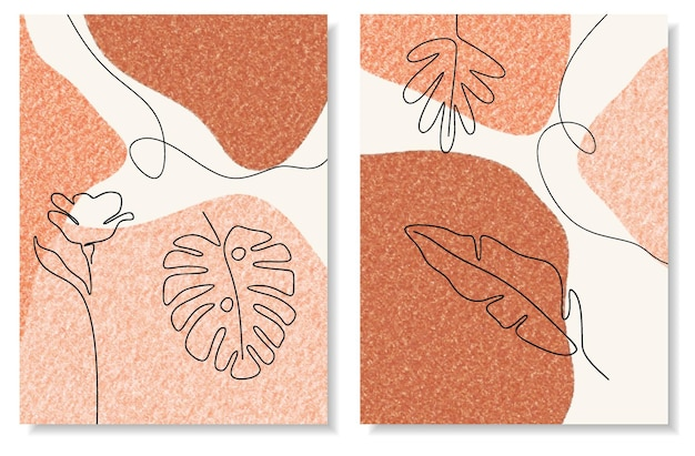 Abstrakcyjny zestaw z minimalnymi kształtami i kwiatem i liściem grafiki liniowej.