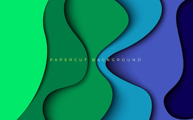 Abstrakcyjny zielony niebieski kolorowy papercut warstwy wymiaru faliste tło