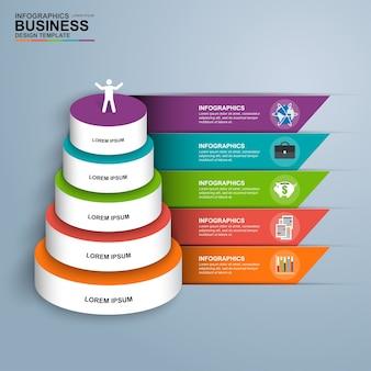 Abstrakt 3d cyfrowy biznes infographic