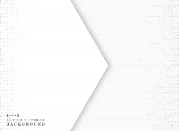 Abstrakt biały papier na futurystycznym elektronicznym deseniowym tle.