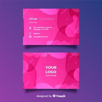 Abstrakt różowa gradientowa wizytówka z memphis stylem
